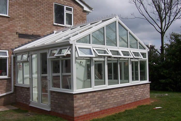 Double glazing - White upvc gable end conservatory with glazed roof