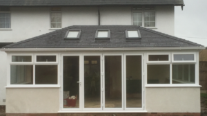 Equinox tiled roof with roof lights featuring bi-folding doors