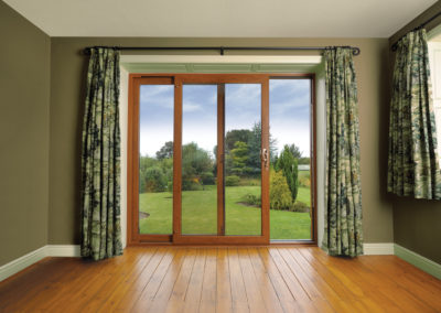Golden oak upvc sliding patio doors