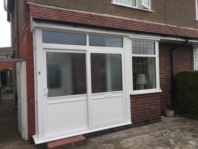 sliding door entrance porch