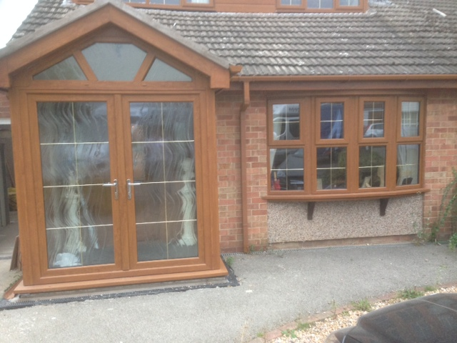 golden oak entrance porch