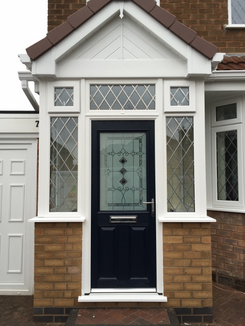 White upvc entrance porch with composite door